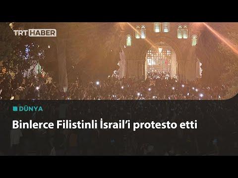 Mescid-i Aksa'da teravih namazının ardından İsrail protesto edildi