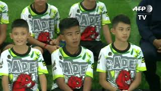 Thai boys rescued from cave hold first press conference