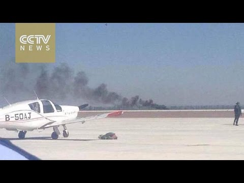 Footage: Pilot killed after plane crashes at air show in China's Gansu Province