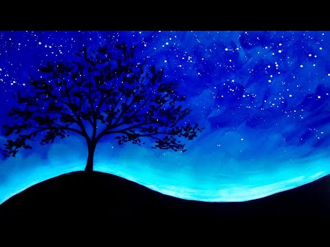 Acrylic Painting Trees and Stars  Silhouette Painting Demo