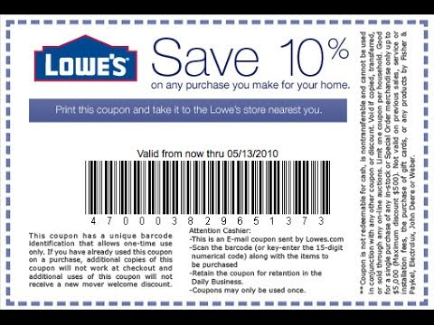 image regarding Lowes 10% Printable Coupon named 10 off residence depot coupon 2018 - Free of charge printable discount codes for