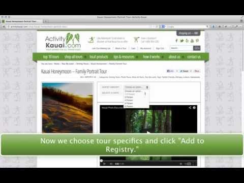 ActivityKauai.com Wedding Registry Tutorial