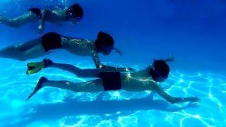 ► Kỹ năng thoát hiểm - Tập bơi lặn dưới nước cho trẻ em.