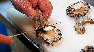 Japanese Street Food - GIANT SEA SNAIL Abalone Sashimi Okinawa Seafood Japan