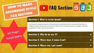 Simple Accordion Menu Section for FAQ Page (2018)   Using HTML, CSS and Basic Jquery