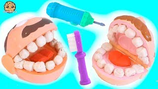 Dentist Doctor Barbie Drills + Fills Patients Teeth - Play Doh Tooth Maker Playset