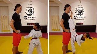Girl Brushes Zlatan's Nose With Taekwondo Kick