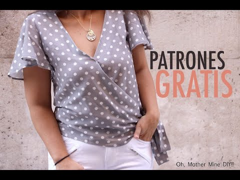 Patrones blusa cruzada mangas mariposa para mujer (gratis varias tallas)