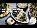 Weight Management Balanced Meal Healthy Eating Plate Video Recipe Protein, CarbFiber BhavnasKitchen