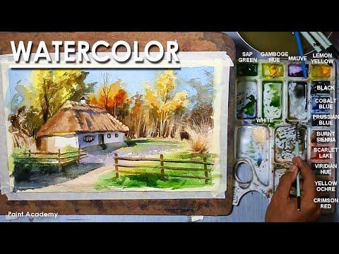 Watercolor Painting : A Composition on Primitive Village House