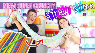 MEGA Super Crunchy STRAW SLIME!! | Giant slime made with straws! | Slimeatory #28 + Giveaway