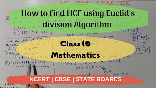 How to find HCF using Euclid's division Algorithm Real Numbers NCERT Maths class 10 | CBSE