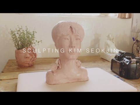 Sculpting Kim Seokjin with Airdry Clay- enon art vlog #33