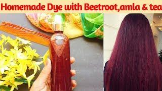 Homemade Herbal Hair Dye without Henna | Herbal Hair Dye with Amla, Beetroot & Tea |AVNI