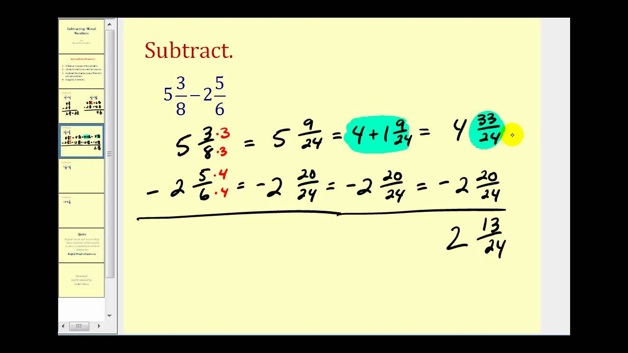Subtracting Mixed Numbers - YouTube