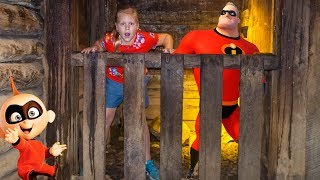 Assistants Hunts for Incredibles 2 in the Gold Mine with PJ Masks