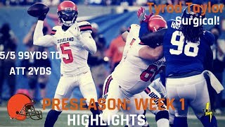 Tyrod Taylor Preseason Week 1 Highlights | Browns Debut 08.09.2018