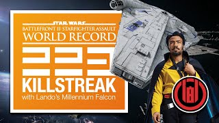 223 Player Killstreak with Lando's Millennium Falcon – WORLD RECORD [SWBF2: Starfighter Assault]
