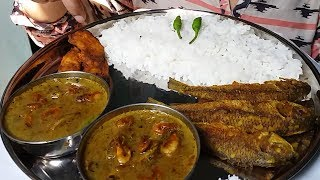 eating show fried fish and shrimp curry eating with rice mukbang Indian food