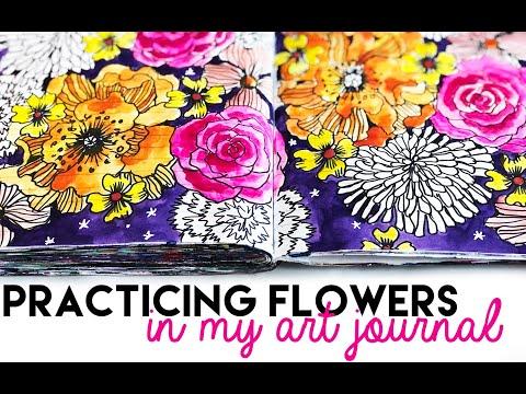 practicing flowers in my art journal