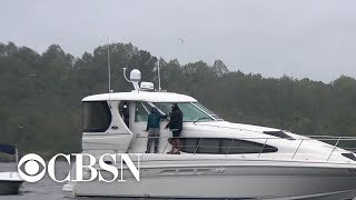 One man riding out Hurricane Florence on his boat
