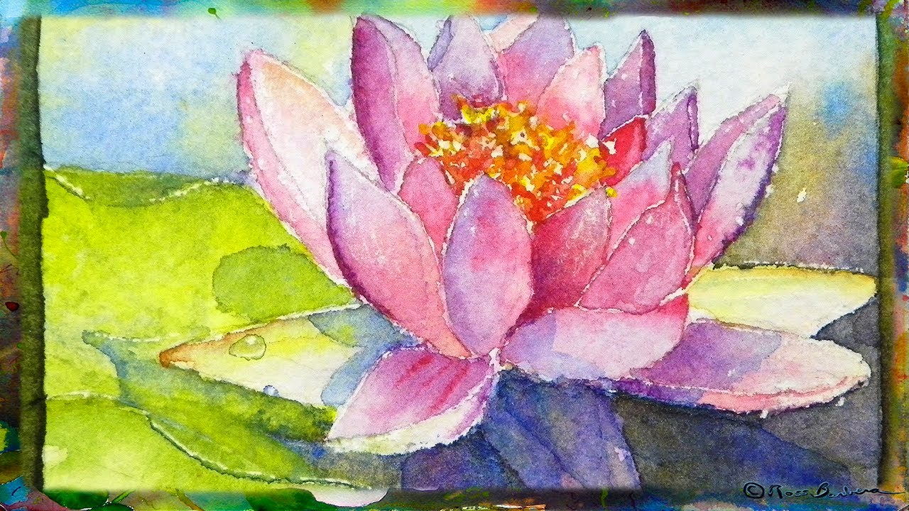 How to Paint the Waterlily with Lotus Flower, Miniature ...
