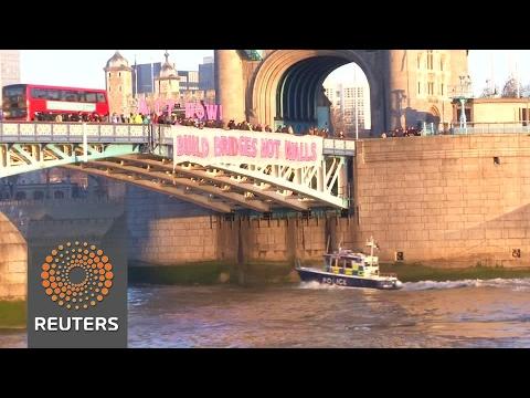 "British protesters tell Trump from Tower Bridge: ""Build bridges, not walls"""