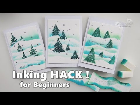 CARDMAKING Life Hack INKING for Beginners how to paint Landscape ♡ Maremi's Small Art ♡