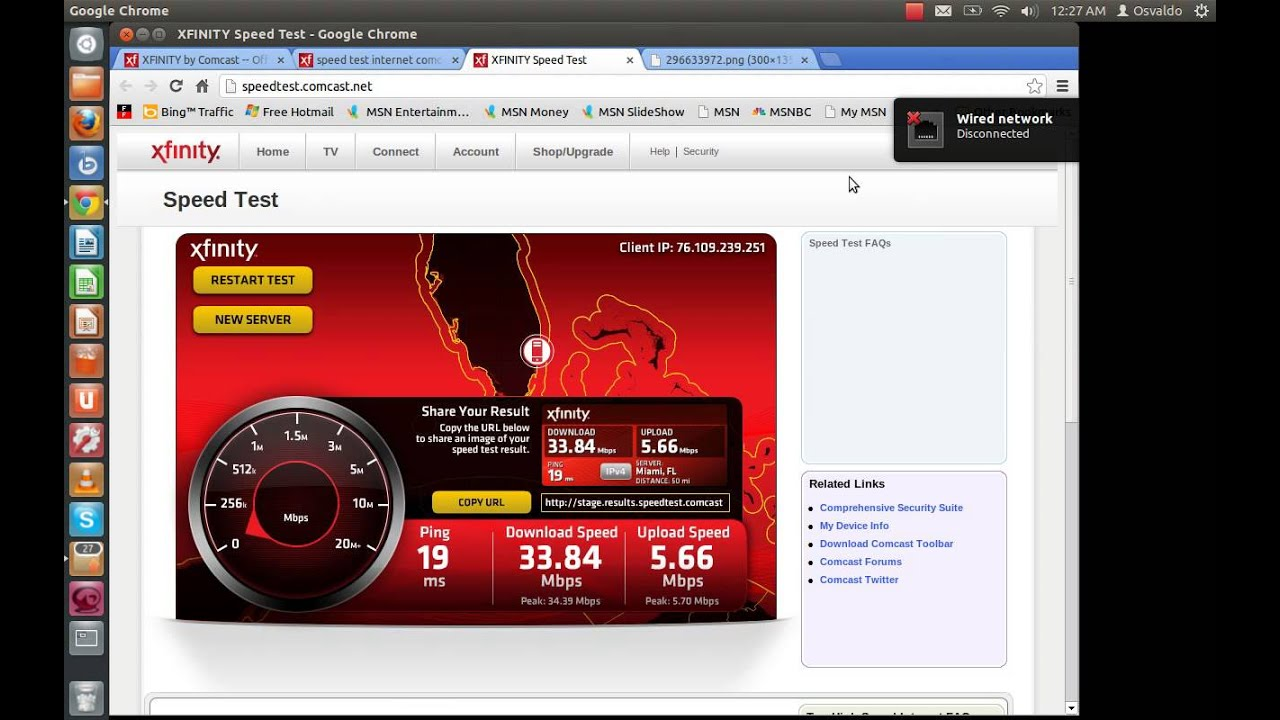 Comcast XFinity Internet Speed Test  Powered by Oh