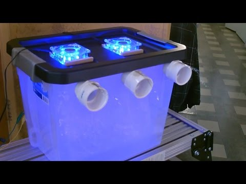 """DIY Air Conditioner! - Cool """"blue-lit"""" AC Air Cooler! - (holds 40lbs of ice) - can be solar powered!"""