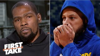 KD reacts to Steph Curry's broken hand, Achilles injury update & defends Kyrie Irving | First Take
