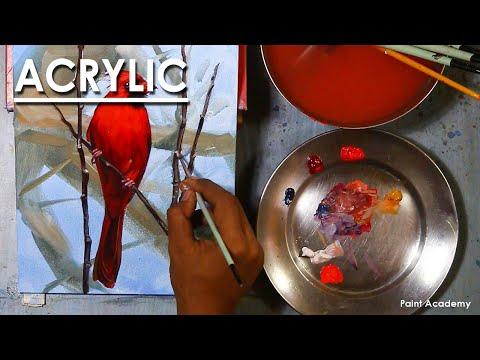 Acrylic Painting Bird : Northern Cardinal | steps to follow