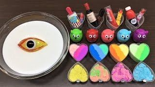 Mixing Makeup, Sand and Clay into Glossy Slime!! Slimesmoothie! Satisfying Slime Videos !