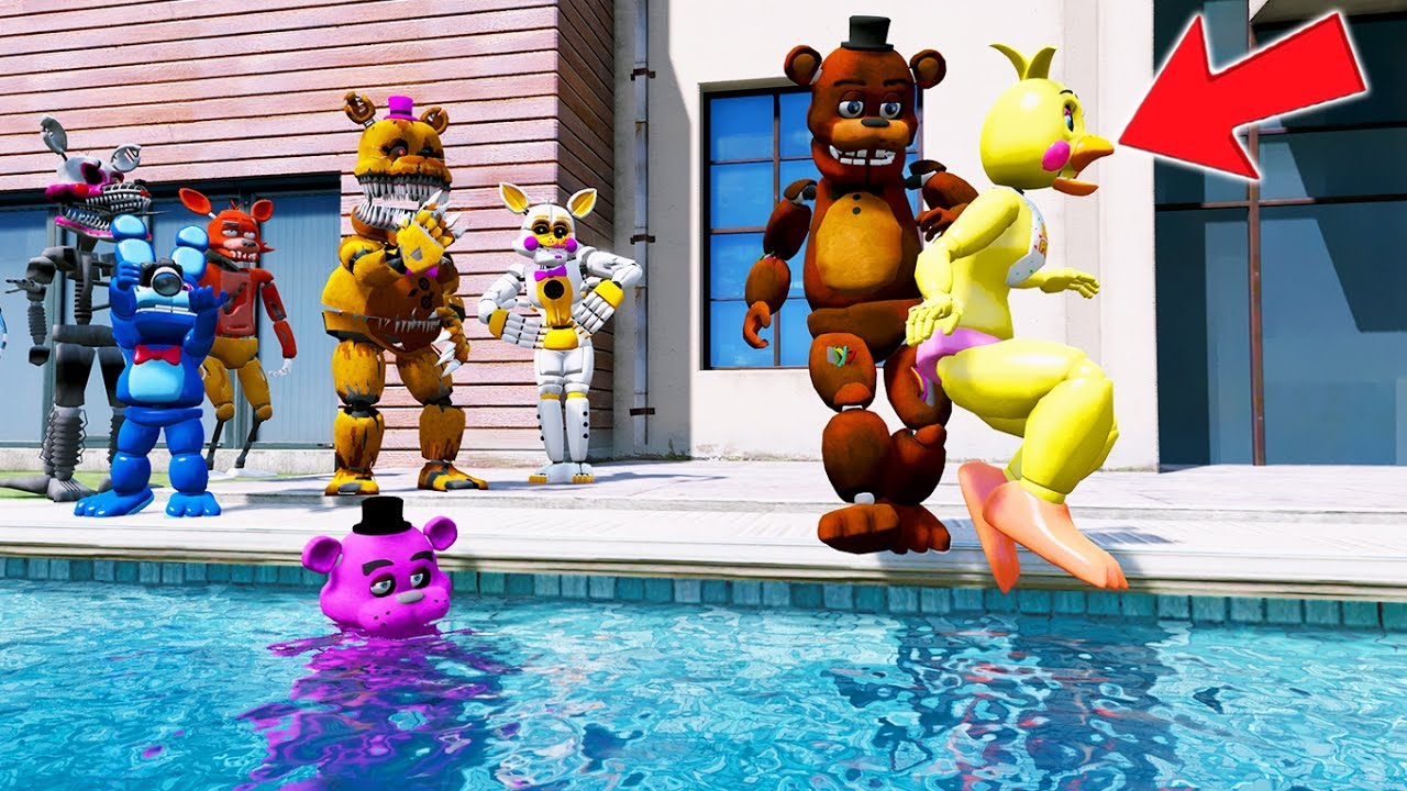 FREDDY THROWS CHICA INTO THE POOL PRANK! (GTA 5 Mods For Kids FNAF Funny  Moments) RedHatter
