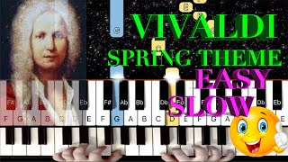 How to play  Spring Theme by Vivaldi - SLOW EASY Piano Tutorial/Lesson
