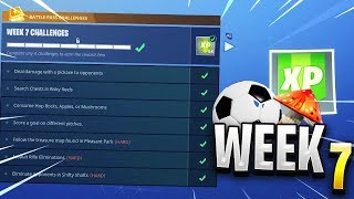 Fortnite ALL WEEK 7 CHALLENGES GUIDE - Soccer Pitches Locations, Treasure Map (Blockbuster Skin)