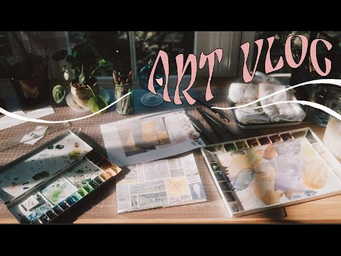 ART VLOG:  relaxing day of painting, sketching & new home goods 🥛 (no music)