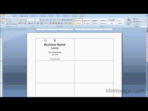 Printing Business Cards In Word Video Tutorial Videomoviles