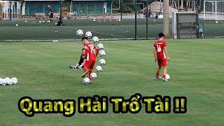 Thử Thách Bóng Đá với Quang Hải , Công Phượng  U23 Việt Nam quẩy skills ghi bàn như Ronaldo