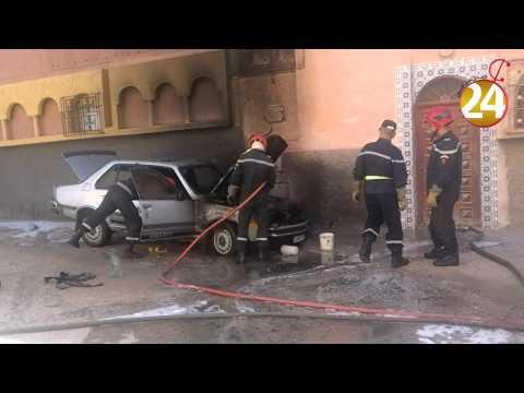 فيديو احتراق سيارة قرب محكمة بتيزنيت