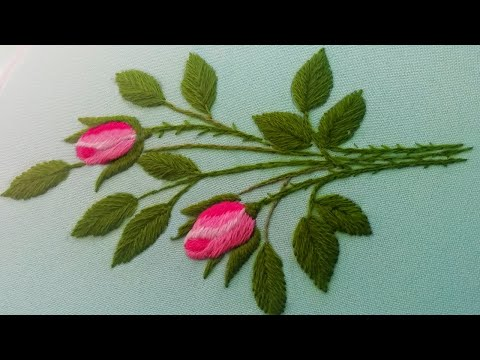 Long and short stitches | bouquet of roses | hand embroidery