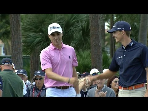Justin Thomas chips in for an eagle three at The Honda Classic