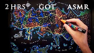 ASMR 2hrs Drawing Game of Thrones Map - Essos | with Sea Monster