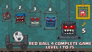 "RED BALL 4 - COMPLETE GAME ""LEVEL 1-75 ""ALL 5 BOSSES KILLED WALKTHROUGH (New Update)"