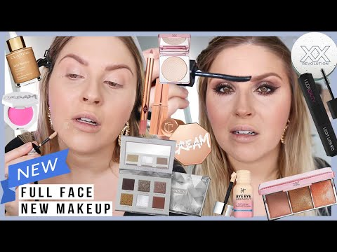 full face of NEW MAKEUP first impressions 💜 some disasters, some holy grails! 🤔