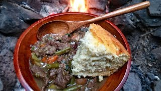 Primitive Cooking - Campfire Beef Stew & Corn Bread Recipe - Survival Cooking