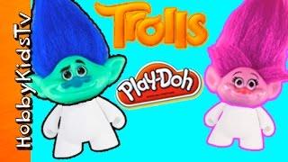 TROLLS Rumble Shake Down Battle! Play-Doh Vinyl Blank Arts N Crafts Fun HobbyKidsTV