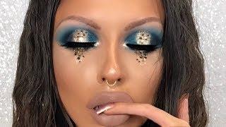 GLITTER TEARS GOLD SPARKLE HALO EYE MAKEUP TUTORIAL | Natasha Denona Blue Purple Palette