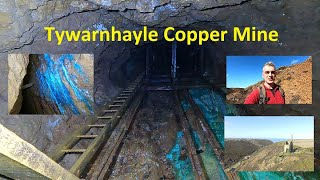 Tywarnhale Copper mine,  abandoned inclined railway, deep underground in a Cornish hillside.