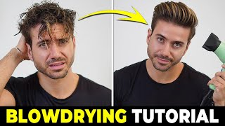 HOW TO USE A HAIR DRYER | Blowdrying Tutorial | Men's Hairstyle Tutorial 2019
